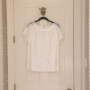 Boden cream top with lace detail